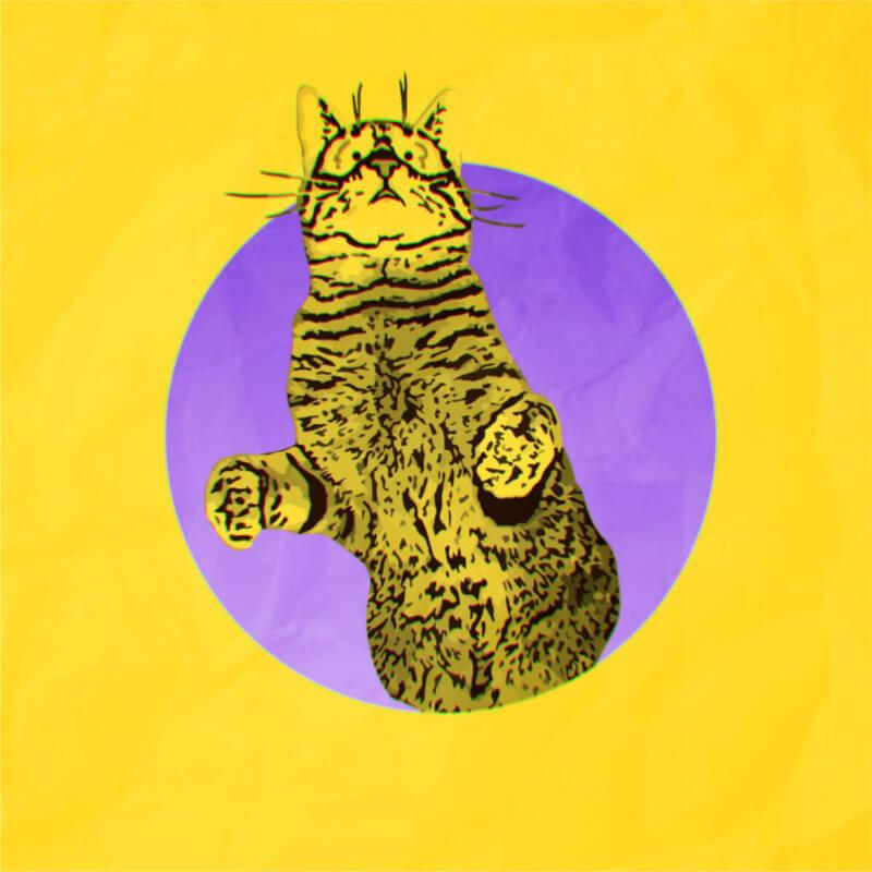 猫のポップなイラスト